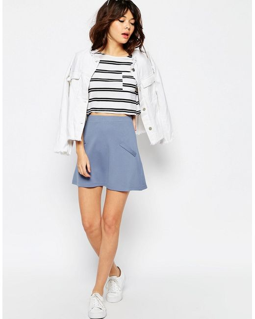asos a line skirt in ponte with pockets in blue save 40