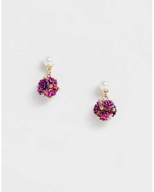 ASOS - Metallic Earrings With Pearl And Mini Floral Embellished Drop In Gold Tone - Lyst