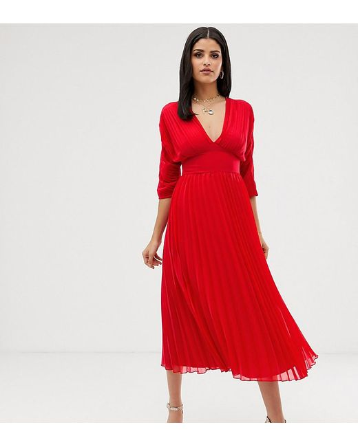 f411231c7ee3e ASOS - Red Asos Design Tall Pleated Midi Dress With Batwing Sleeves - Lyst  ...