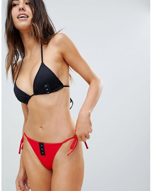 ASOS DESIGN - Red Mix And Match Tie Side Bikini Bottom With Hook And Eye - Lyst