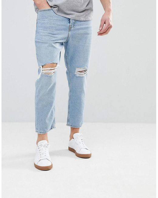 Mango - Blue Man Slim Jean With Knee Rips In Light Wash for Men - Lyst