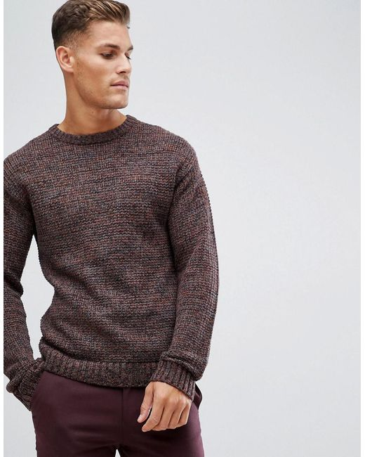 SELECTED - Brown Heavy Mixed Yarn Knitted Jumper for Men - Lyst