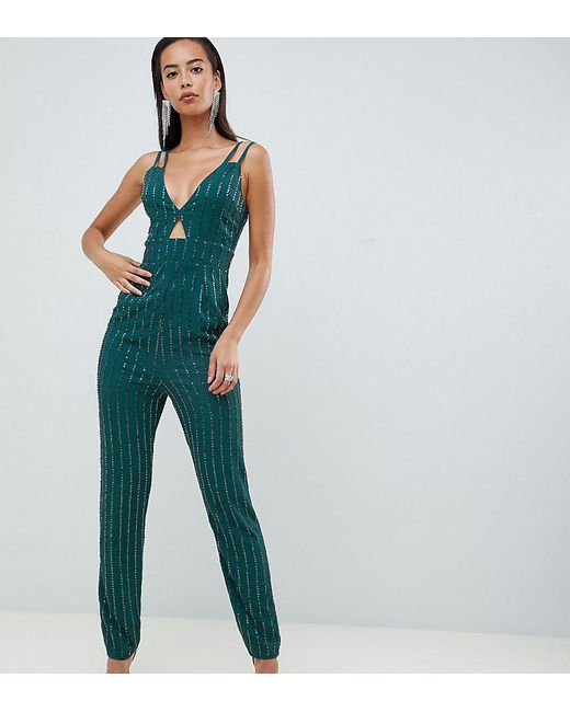 e2c6a4fd1a1f6 ASOS - Blue Asos Design Tall Cami Jumpsuit With Peg Leg And Cut Out In  Scatter ...