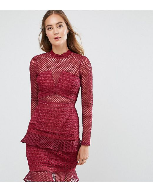 True Decadence - Red All Over Mesh Skater Dress With Ruffle Hem - Lyst