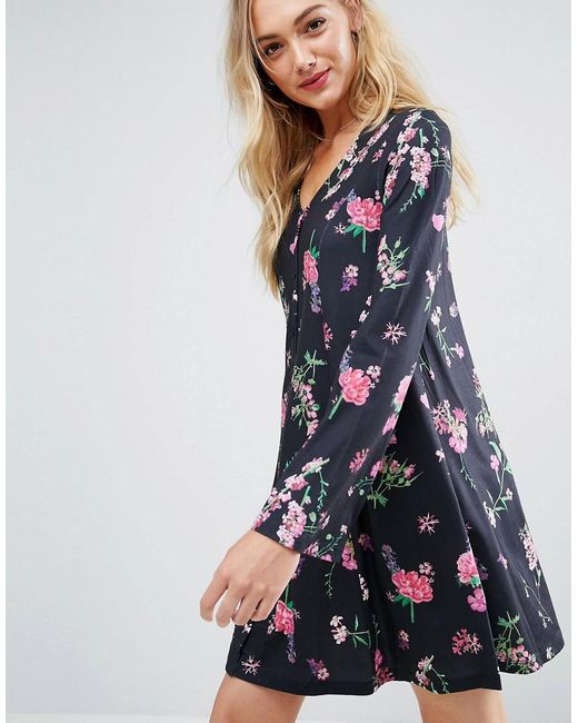 Button Through Mini Swing Dress With Trumpet Sleeve In Floral Print - Multi Asos 1fj234fU