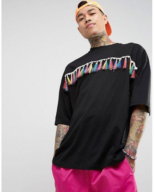 ASOS | Festival Oversized T-shirt In Black With Rainbow Fringing for Men | Lyst