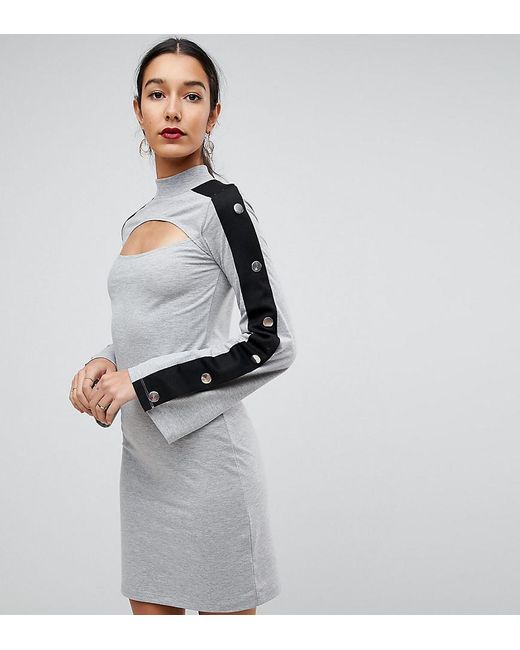 ASOS - Gray Mini Dress With Popper Sleeve And Cut Out - Lyst