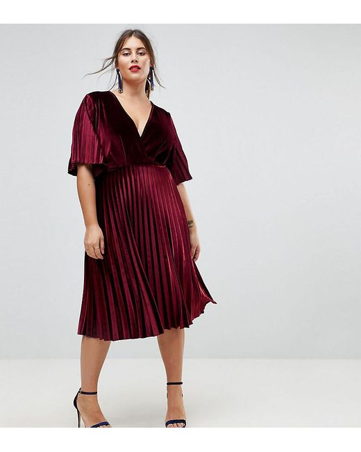 Asos Pleated Velvet Kimono Midi Dress in Red