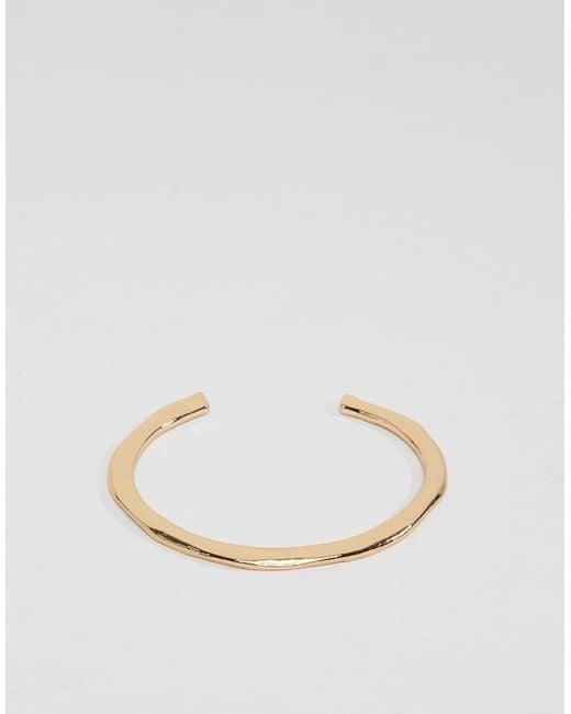 ASOS - Metallic Cuff Bracelet With Minimal Detail In Gold - Lyst