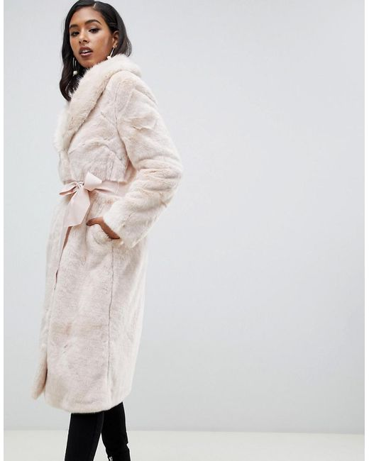 ASOS - Pink Asos Plush Faux Fur Maxi Coat With Belt - Lyst
