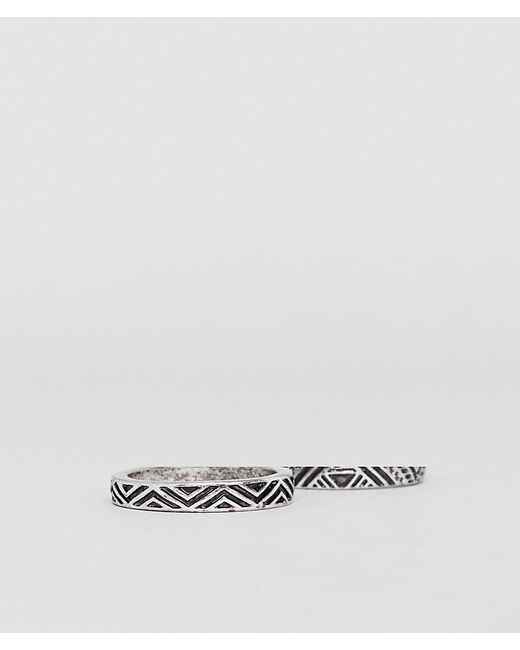 ASOS - Metallic Ring Pack With Emboss In Burnished Silver Tone for Men - Lyst