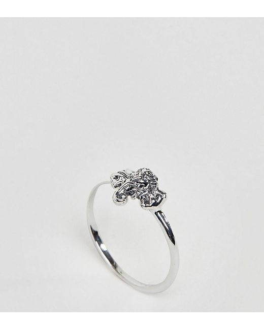 ASOS - Metallic Asos Design Curve Ring With Elephant Detail In Sterling Silver - Lyst