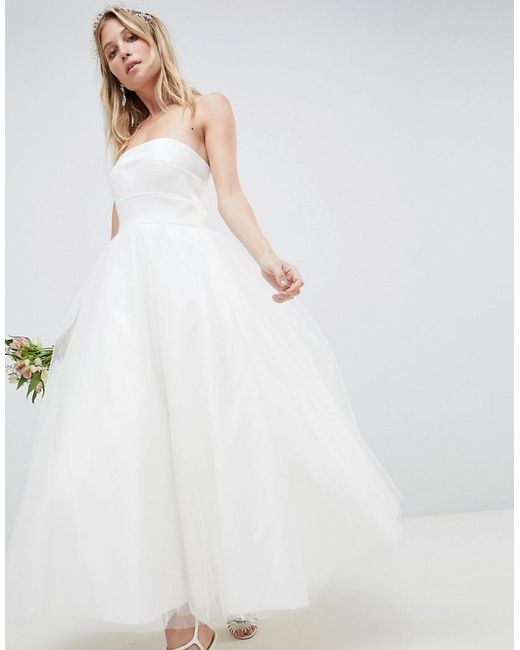 ASOS - White Bandeau Prom Midi Wedding Dress - Lyst
