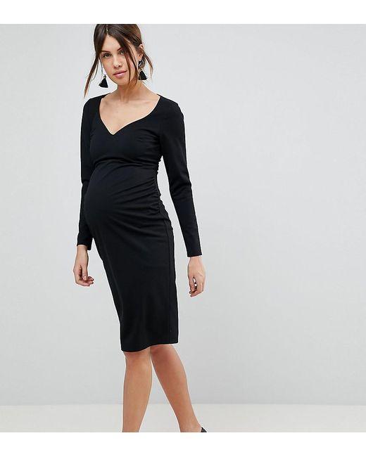 16f160f834 ASOS - Black Midi V Neck Pencil Dress With Long Sleeves - Lyst ...