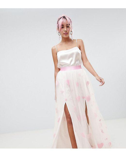 a357e70f8 ASOS - Pink Hello Kitty X Heart Flocked Tulle Maxi Skirt - Lyst ...