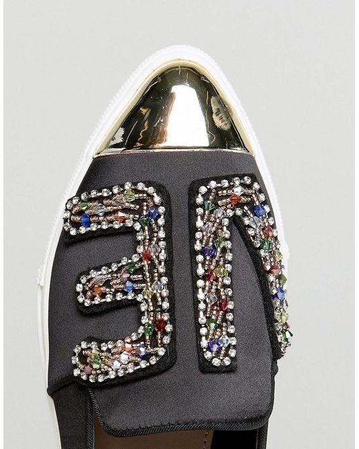 Miss Kg De Perles « Amour » Chaussures De Sport En Satin - Noir Q0LyZ