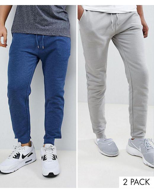 ASOS - Gray Skinny Joggers 2 Pack Light Grey/dark Denim Marl Save for Men - Lyst