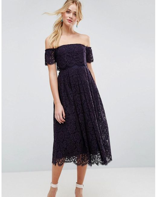 ASOS - Blue Off The Shoulder Lace Prom Midi Dress - Lyst