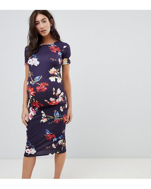 39ae702a67e Bluebelle Maternity - Multicolor Short Sleeve Bodycon Dress In Floral - Lyst  ...