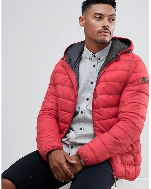 Blend - Red Hooded Quilted Jacket for Men - Lyst