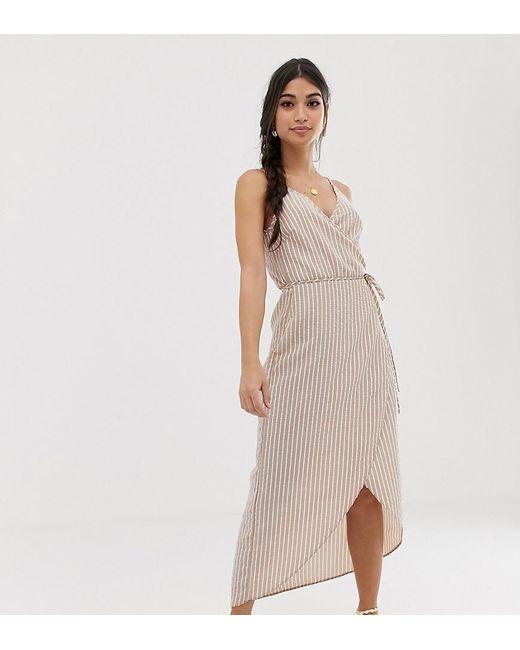 95860794ecf ASOS - Multicolor Asos Design Petite Cami Wrap Maxi Dress In Seersucker  Stripe - Lyst ...