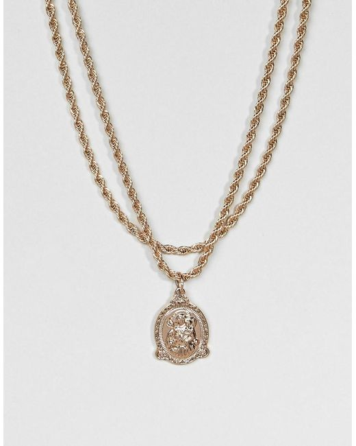 ASOS - Metallic Vintage Style Icon Pendant Rope Chain Multirow Necklace - Lyst