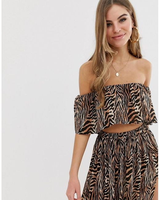 9439404787 ASOS - Multicolor Frill Beach Co-ord Top In Chocolate Zebra Animal Print -  Lyst ...