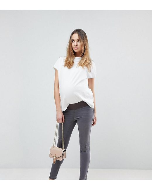 ASOS - Gray Rivington High Waisted Jeggings In New Cara Grey Wash With Under The Bump Waistband - Lyst