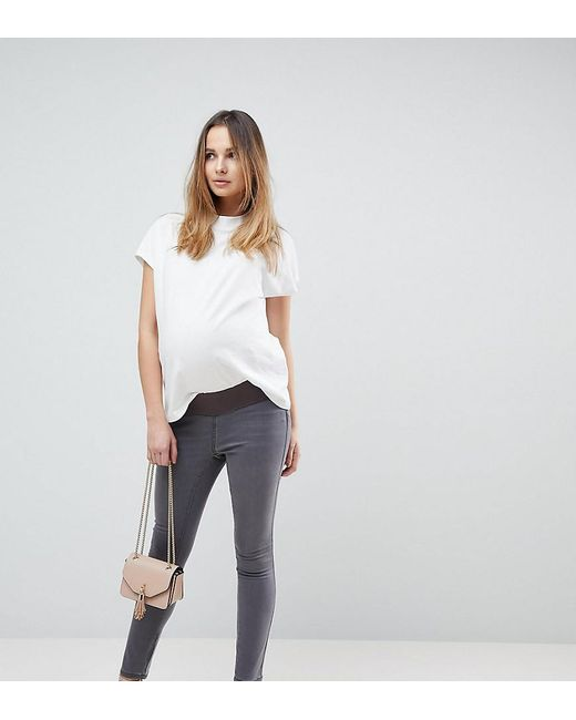 ASOS - Gray Asos Design Maternity Rivington High Waisted jeggings In New Grey Wash With Under The Bump Waistband - Lyst