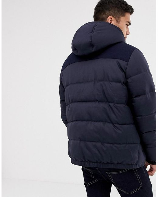 a7a36d7f82 ... Threadbare - Blue Panelled Puffer Jacket With Hood for Men - Lyst