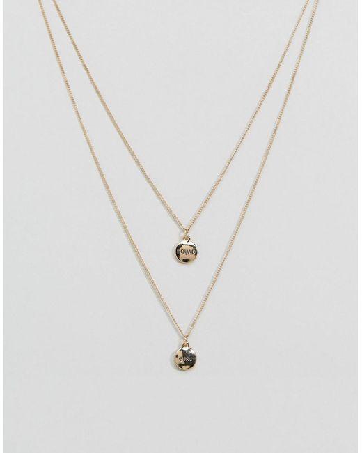 Monki | Metallic Girl Squad Necklace | Lyst