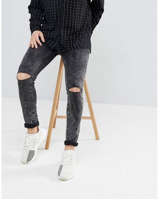 62ebd3ca71b Mennace Super Skinny Jeans In Black With Knee Rips in Black for Men ...