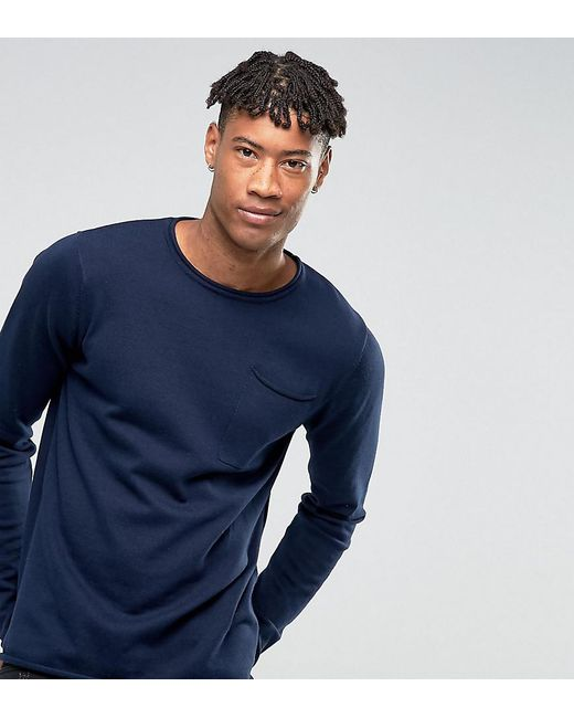 D-Struct - Blue Tall Knitwear Fine Gauge Crew Neck Knit With Pocket for Men - Lyst