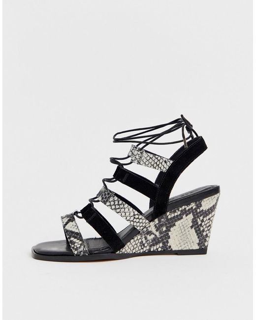 d7148eb43b ... ASOS - Hansel Suede Mix Mid Heeled Wedges In Snake And Black - Lyst