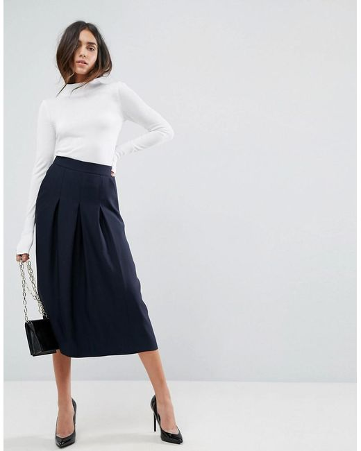 ASOS - Blue Asos Tailored Clean Column Skirt With Pleats - Lyst