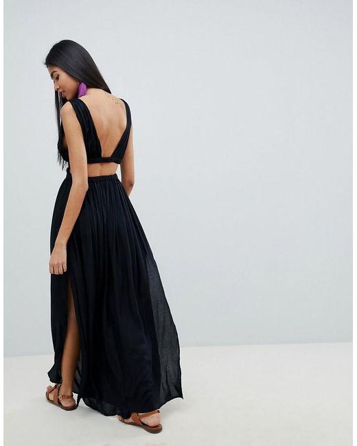 e76c0ec924 ... ASOS - Black Grecian Plunge Maxi Woven Beach Dress - Lyst