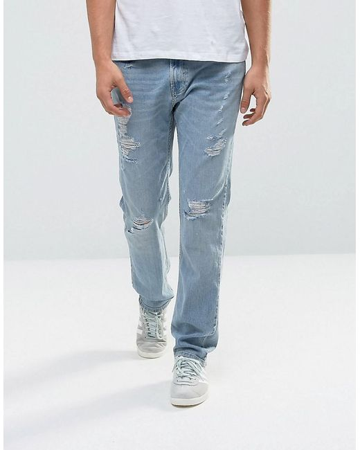 Lyst - Hollister Jeans Slim Fit Destroyed Light Wash in Blue for Men