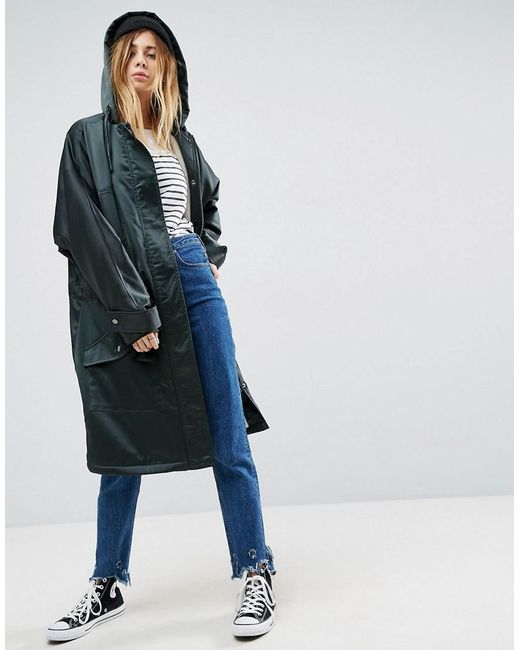 ASOS - Green Slouchy Satin Parka With Fleece Lining - Lyst