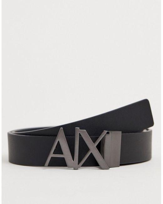 f7397815fbd Armani Exchange - Black Ceinture rversible en cuir avec logo sur la boucle  for Men ...