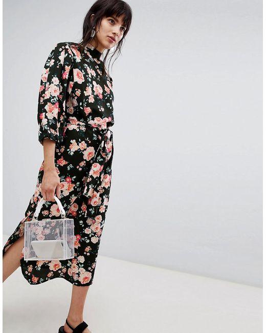 Walter Baker - Black High Neck Floral Print Midi Shift Dress - Lyst