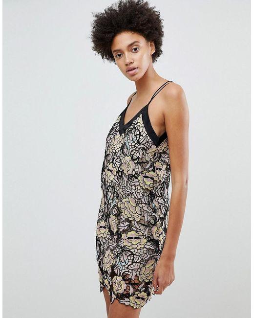N12H - Metallic Midnight Blooms Lace Slip Dress - Lyst