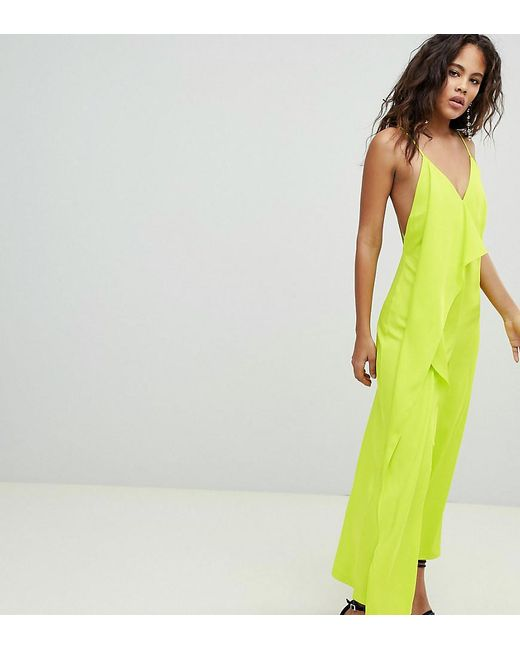 ASOS - Green Asos Design Tall Minimal Jumpsuit With Drape Front - Lyst