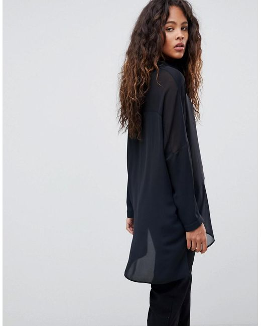 Online For Sale Cheap Online Store Manchester ASOS DESIGN Tall soft shirt in sheer and solid - Black Asos Tall Get Authentic Online UzfiXP