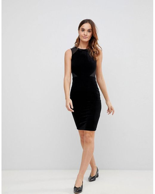 Viven Velvet Panel Bodycon Dress - Black French Connection TneyqWEx