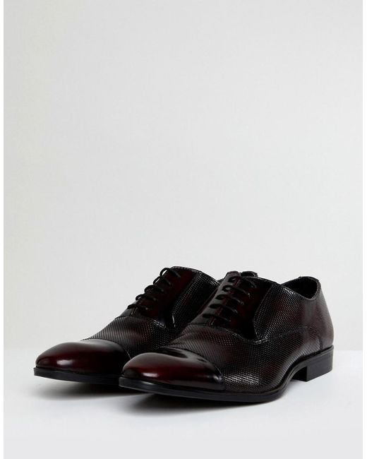 ASOS Oxford Shoes In Burgundy Leather With Laser Detail aINZBM6g58