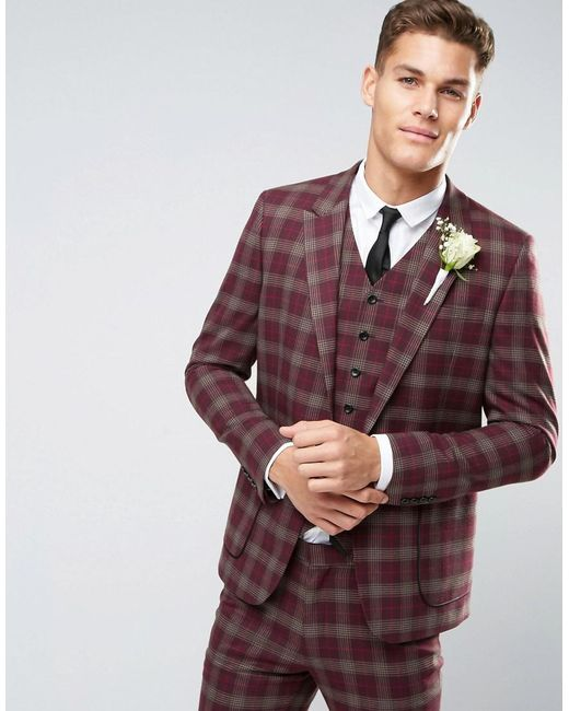 Asos Red Wedding Skinny Suit Jacket In Check For Men Lyst