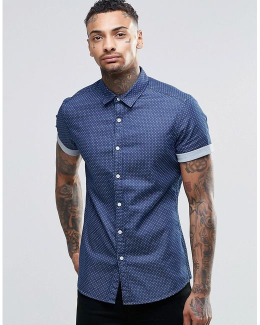 Asos skinny denim shirt with polka dot in rinse wash and for Mens polka dot shirt short sleeve