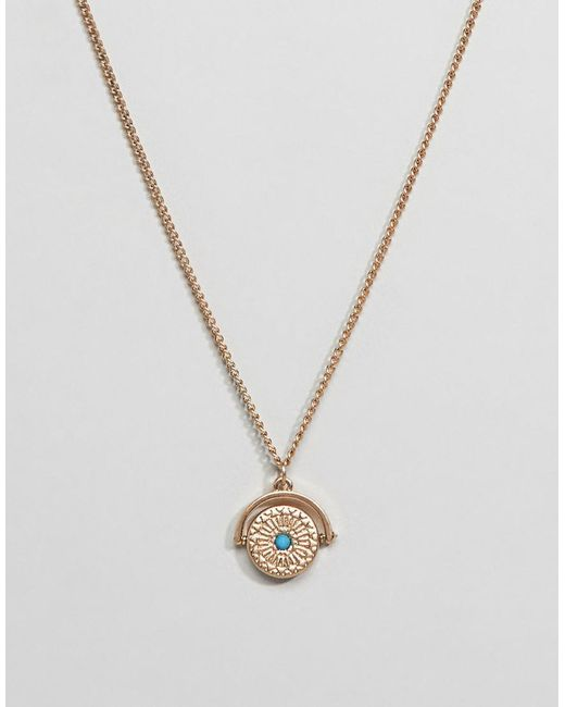 ASOS - Metallic Design Necklace In Gold With Spinner And Stone Detail for Men - Lyst
