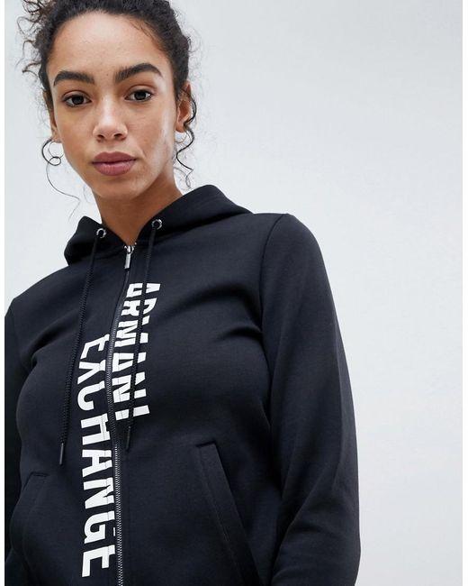 Armani Exchange - Black Spliced Logo Zip Through Hoody - Lyst