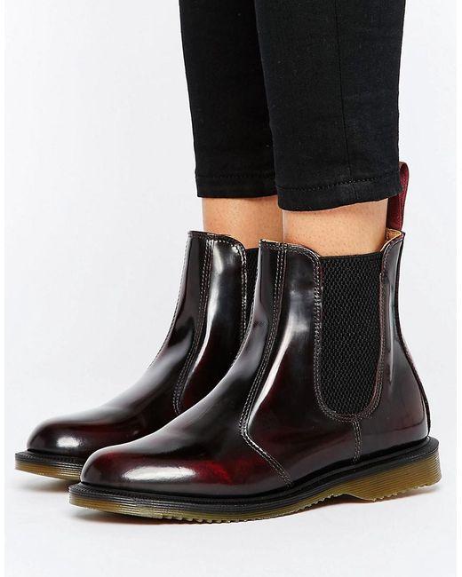 Dr. Martens - Red Kensington Flora Burgundy Chelsea Boots - Lyst